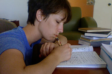 photo of an english student writing