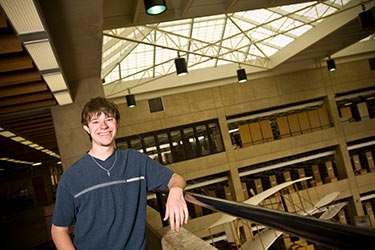 photo of a student in the library