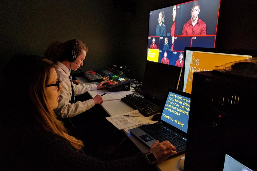 Student team recording in the New Media Incubator