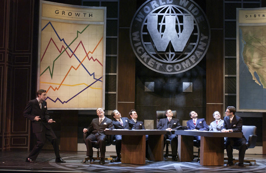 photo from the theatre production how to succeed in business without really trying