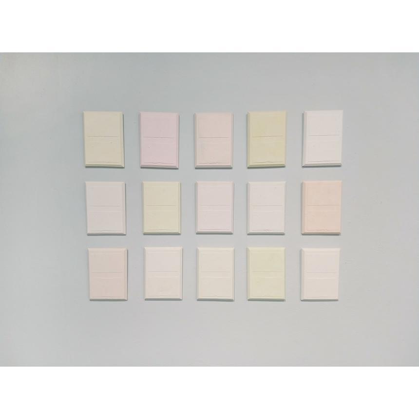 "Bitsy Hildenbrandt, Painting Concentration, ""Plaques,"" plaster"