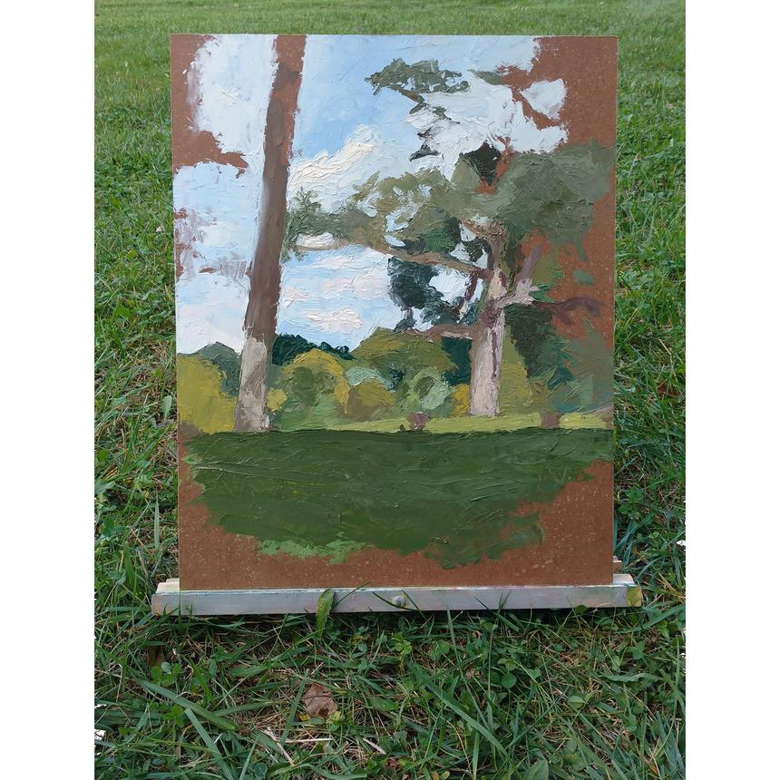 """Bitsy Hildenbrandt, Painting Concentration, """"Landscape with Two Trees,"""" oil on Masonite"""