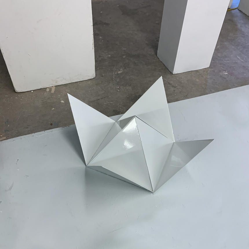 "Marcus Allen, ""Lotus Pyramid"", metal, paint"