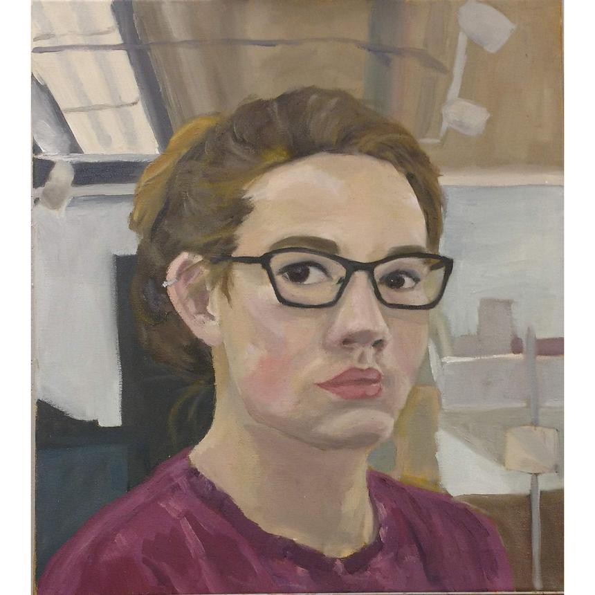 "Bitsy Hildenbrandt, Painting Concentration, ""Self Portrait,"" oil on canvas"