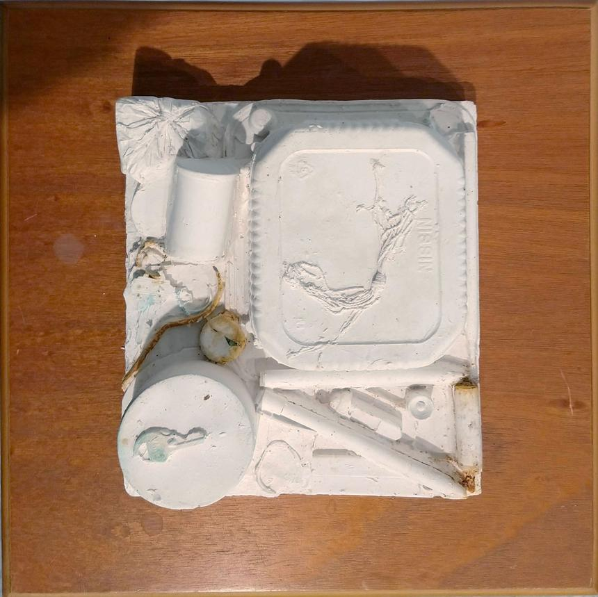 """Bitsy Hildenbrandt, Painting Concentration, Detail of """"Junk Drawer,"""" found table with drawer, plaster cast of assemblage"""