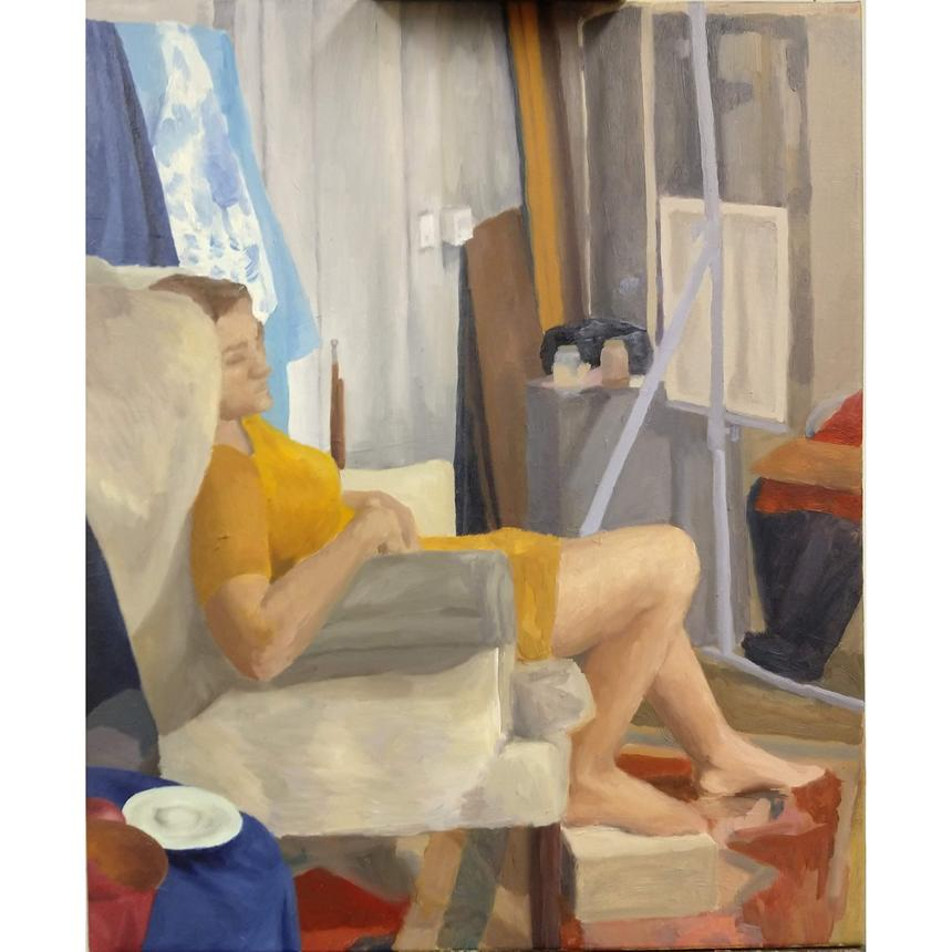 """Bitsy Hildenbrandt, Painting Concentration, """"Seated Figure in Yellow Dress,"""" oil on canvas"""