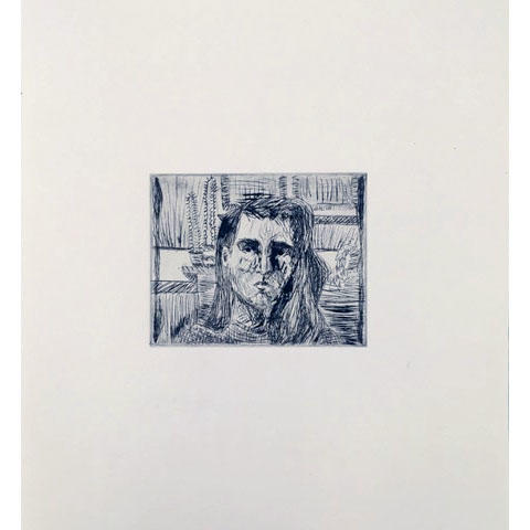 "Jackie Smith, Printmaking concentration, ""Portrait"" Ink, paper"