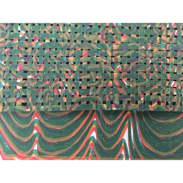 """Jackie Smith, Printmaking concentration, Detail """"Extruded Weave"""" Ink, paper, glue"""