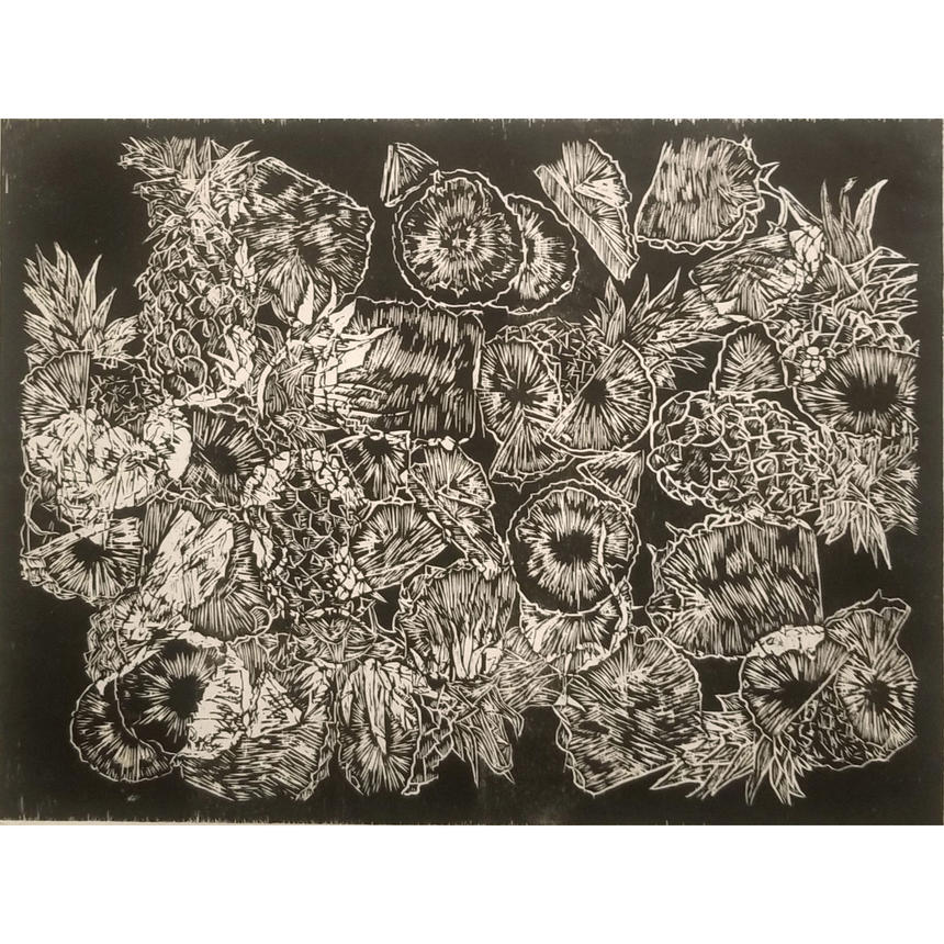"""Libby Slauenwhite, Printmaking and Sculpture Concentration, """"Psych"""" Woodcut"""