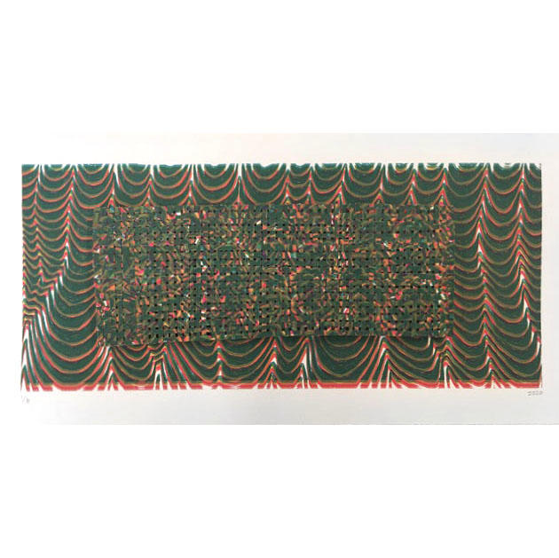"Jackie Smith, Printmaking concentration, ""Extruded Weave"" Ink, paper, glue"