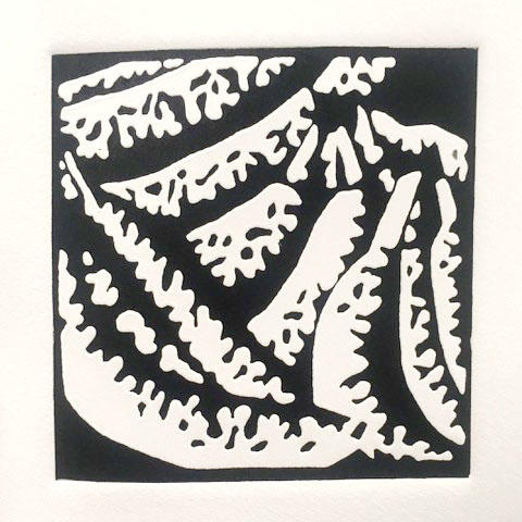"Jackie Smith, Printmaking concentration, ""Biting"" Ink, paper"