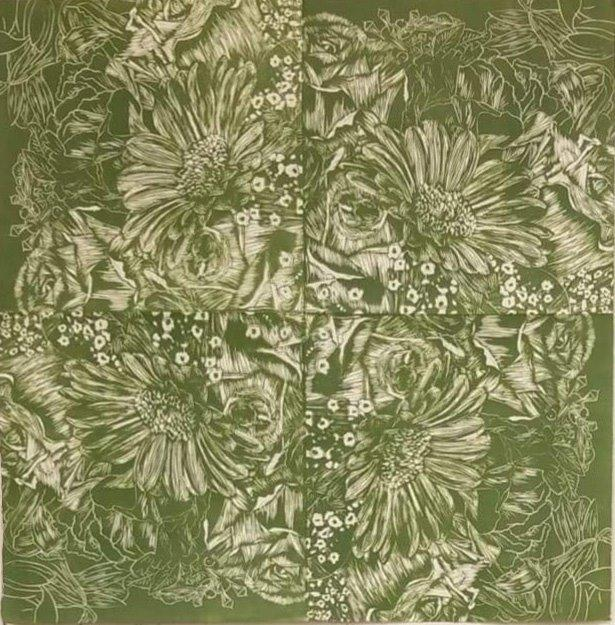 "Libby Slauenwhite, Printmaking and Sculpture Concentration, ""Garden Kaliedescope"" Linocut"