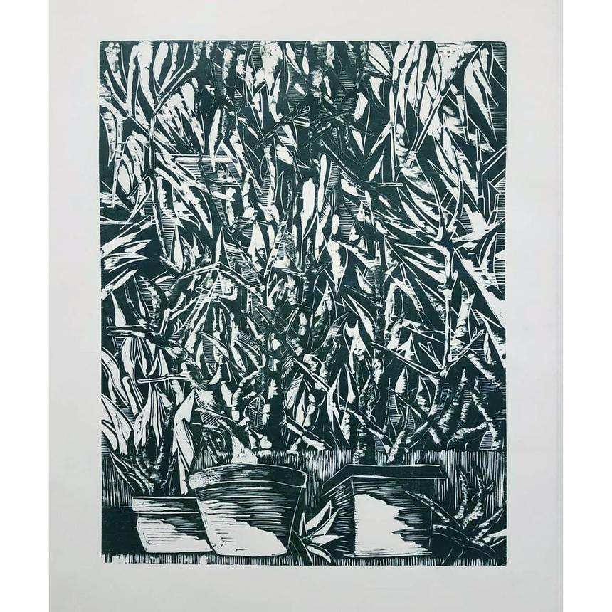 """Shekinah Brubaker, Printmaking Concentration, """"Frankle"""", Relief, woodcut"""
